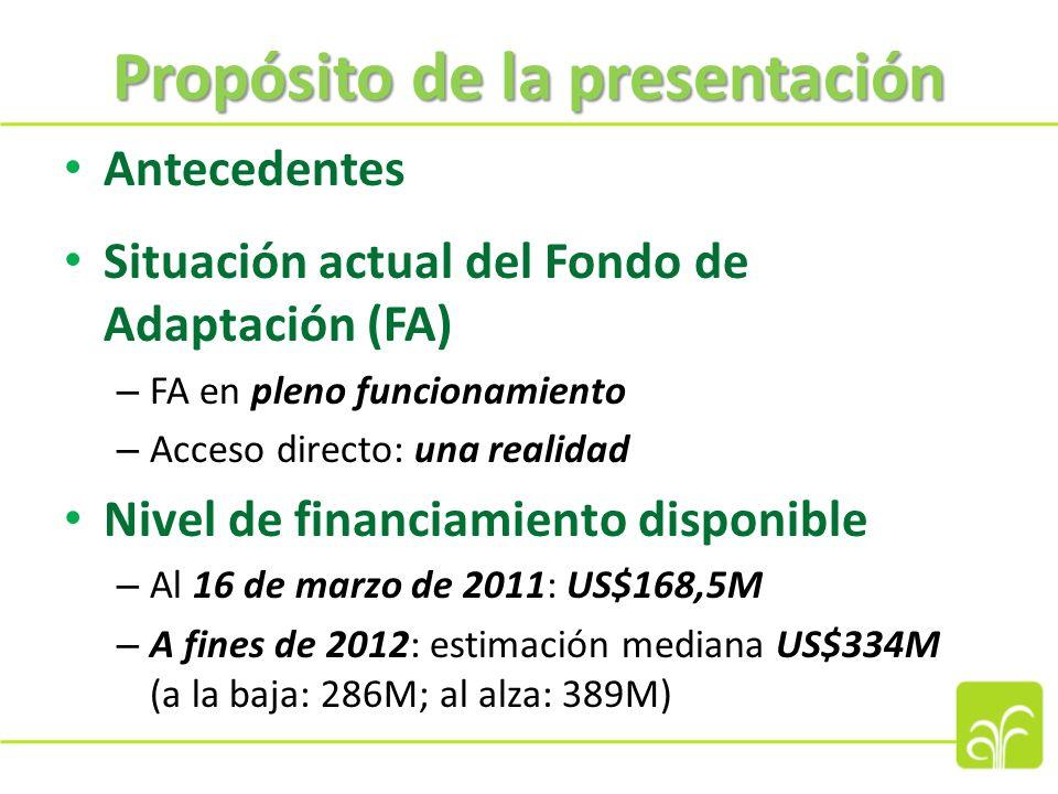 Antecedentes del FA Establecido en virtud del Protocolo de Kyoto de la CMNUCC Finalidad: financiar proyectos de adaptación concretos Financiado con el 2% del importe de las Reducciones Certificadas de Emisiones (RCE) producidas por actividades de proyectos del Mecanismo para un desarrollo limpio (MDL) y otras fuentes de financiamiento Entidad operativa: Junta del Fondo de Adaptación (JFA) Elaboración de procedimientos operacionales en 2008-09 En pleno funcionamiento en 2010: decisiones de financiamiento Enero de 2011: inicio del primer proyecto