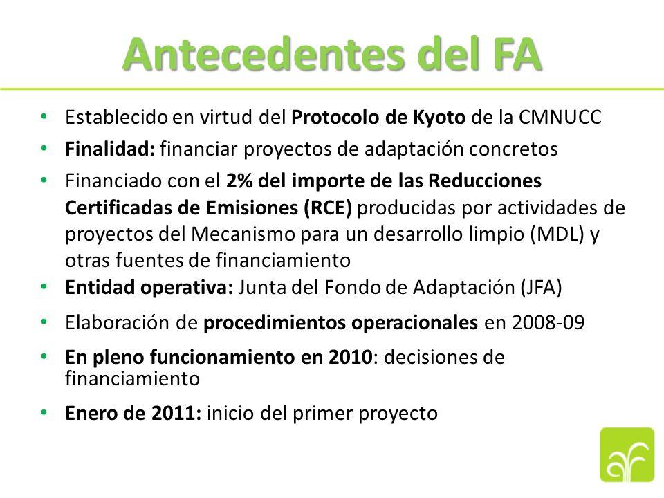 El Fondo de Adaptación (FA) Un mecanismo financiero innovador: 1.Organo rector: representación equitativa y equilibrada de las Partes en el Protocolo de Kyoto (PK) 2.Acceso directo a los recursos del FA por los países que reúnen los requisitos 3.Nueva fuente de financiamiento: gravamen internacional del 2% de las RCE producidas por los proyectos del MDL
