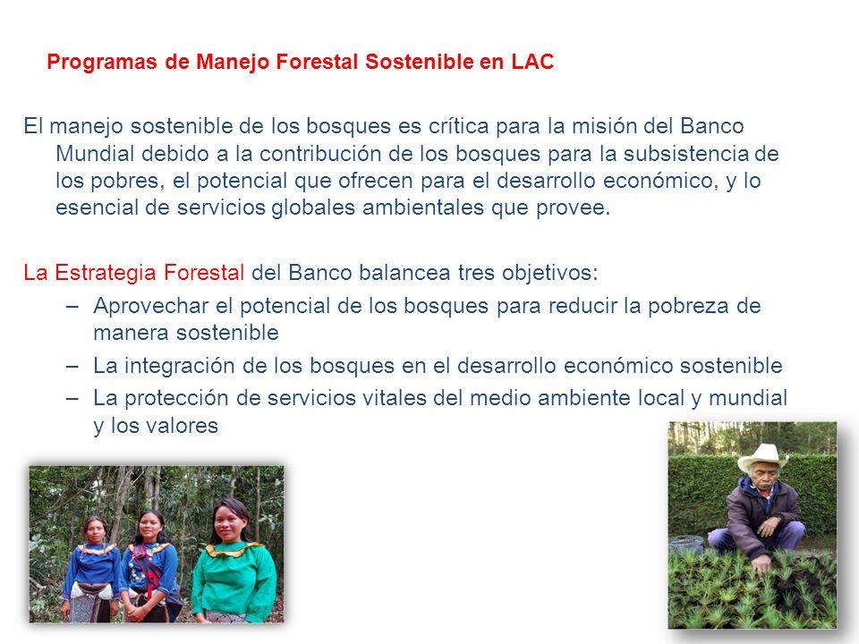 Programas de Manejo Forestal Sostenible en LAC El manejo sostenible de los bosques es crítica para la misión del Banco Mundial debido a la contribución de los bosques para la subsistencia de los pobres, el potencial que ofrecen para el desarrollo económico, y lo esencial de servicios globales ambientales que provee.