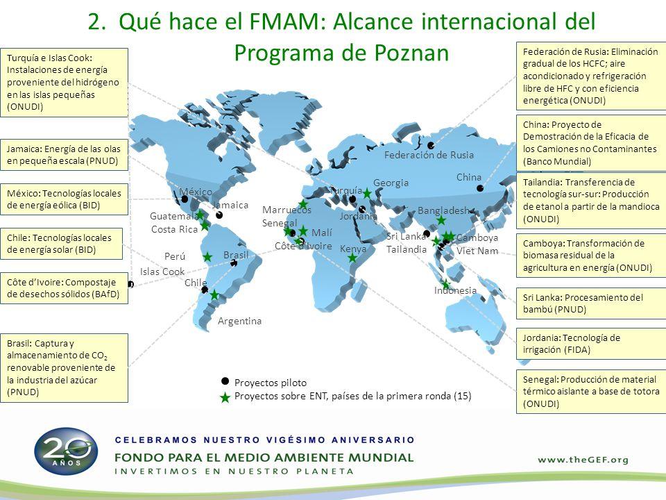 2. Qué hace el FMAM: Alcance internacional del Programa de Poznan Proyectos piloto Proyectos sobre ENT, países de la primera ronda (15) Turquía e Isla