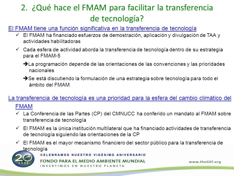 2. ¿Qué hace el FMAM para facilitar la transferencia de tecnología.