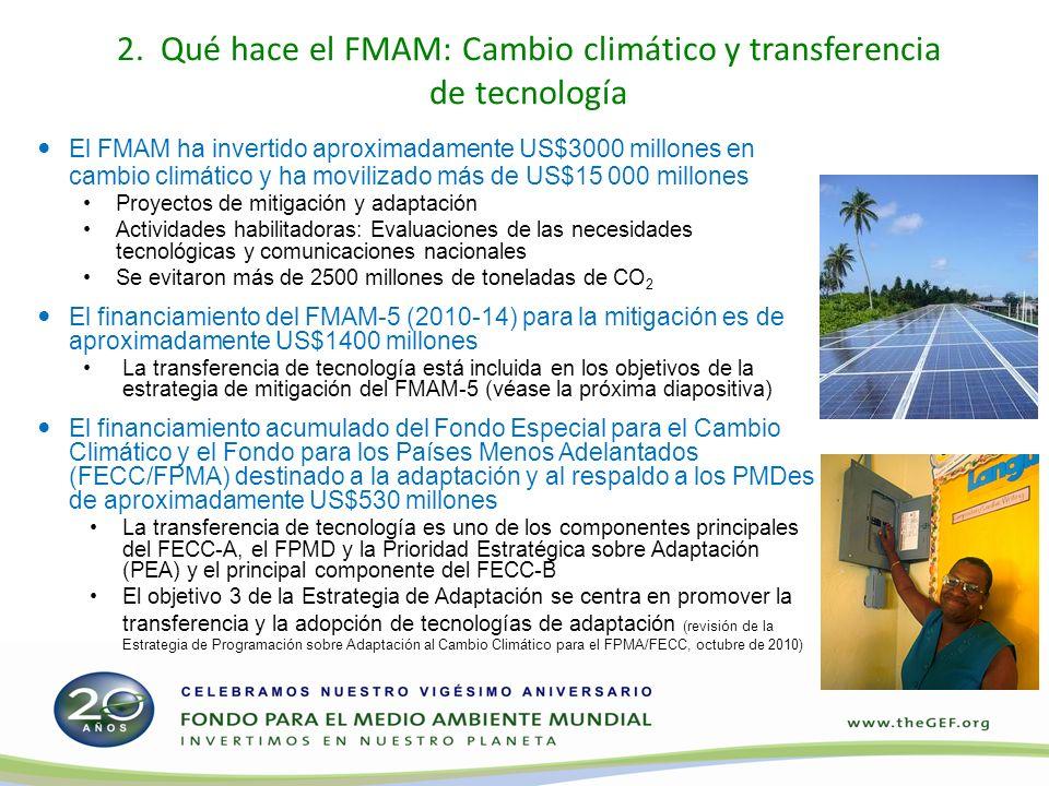 2. Qué hace el FMAM: Cambio climático y transferencia de tecnología El FMAM ha invertido aproximadamente US$3000 millones en cambio climático y ha mov