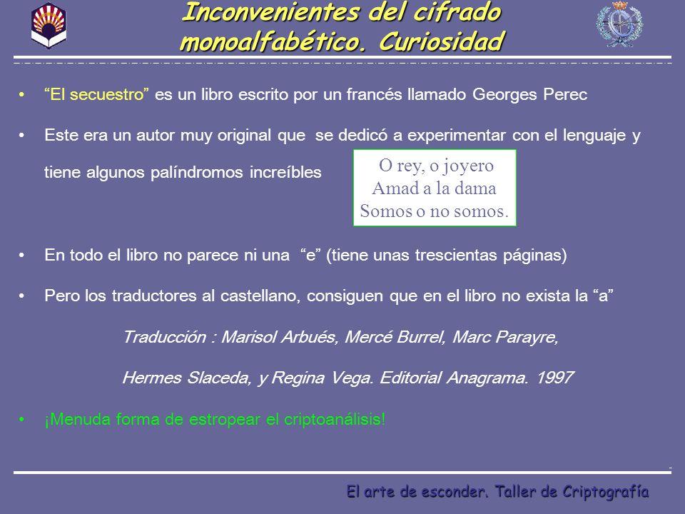 El arte de esconder. Taller de Criptografía El secuestro es un libro escrito por un francés llamado Georges Perec Este era un autor muy original que s
