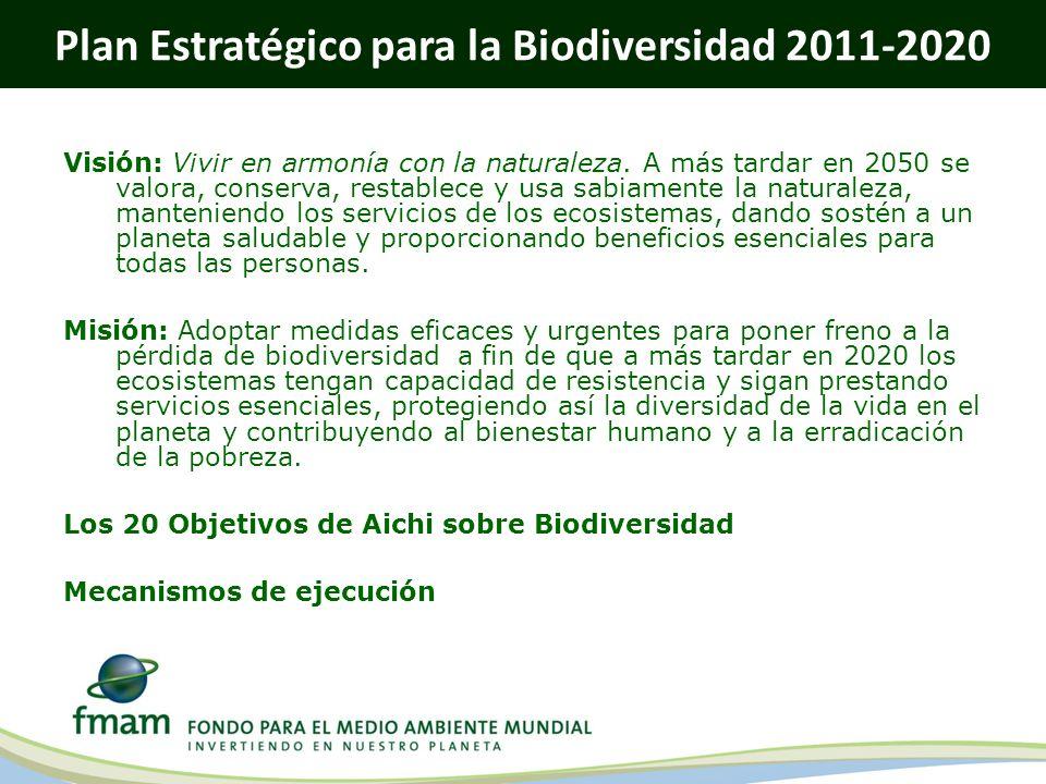 Plan Estratégico para la Biodiversidad 2011-2020 Visión: Vivir en armonía con la naturaleza. A más tardar en 2050 se valora, conserva, restablece y us