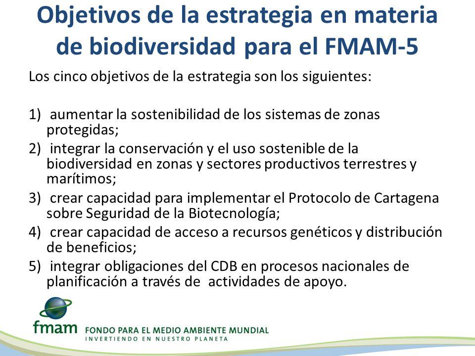 Objetivos de la estrategia en materia de biodiversidad para el FMAM-5 Los cinco objetivos de la estrategia son los siguientes: 1) aumentar la sostenib