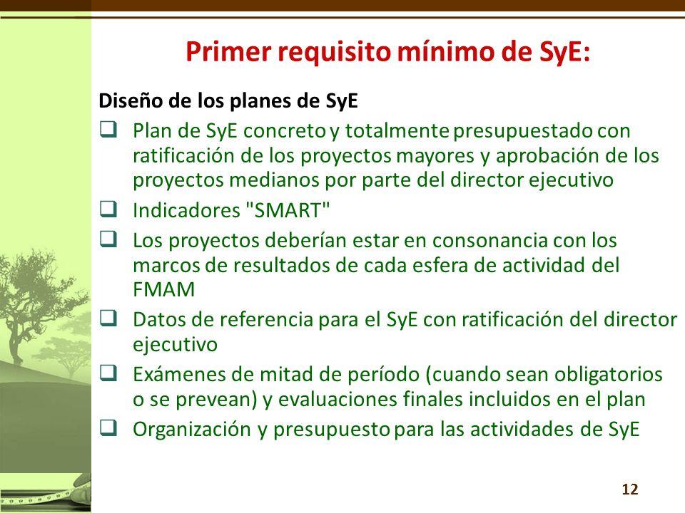 Diseño de los planes de SyE Plan de SyE concreto y totalmente presupuestado con ratificación de los proyectos mayores y aprobación de los proyectos medianos por parte del director ejecutivo Indicadores SMART Los proyectos deberían estar en consonancia con los marcos de resultados de cada esfera de actividad del FMAM Datos de referencia para el SyE con ratificación del director ejecutivo Exámenes de mitad de período (cuando sean obligatorios o se prevean) y evaluaciones finales incluidos en el plan Organización y presupuesto para las actividades de SyE 12