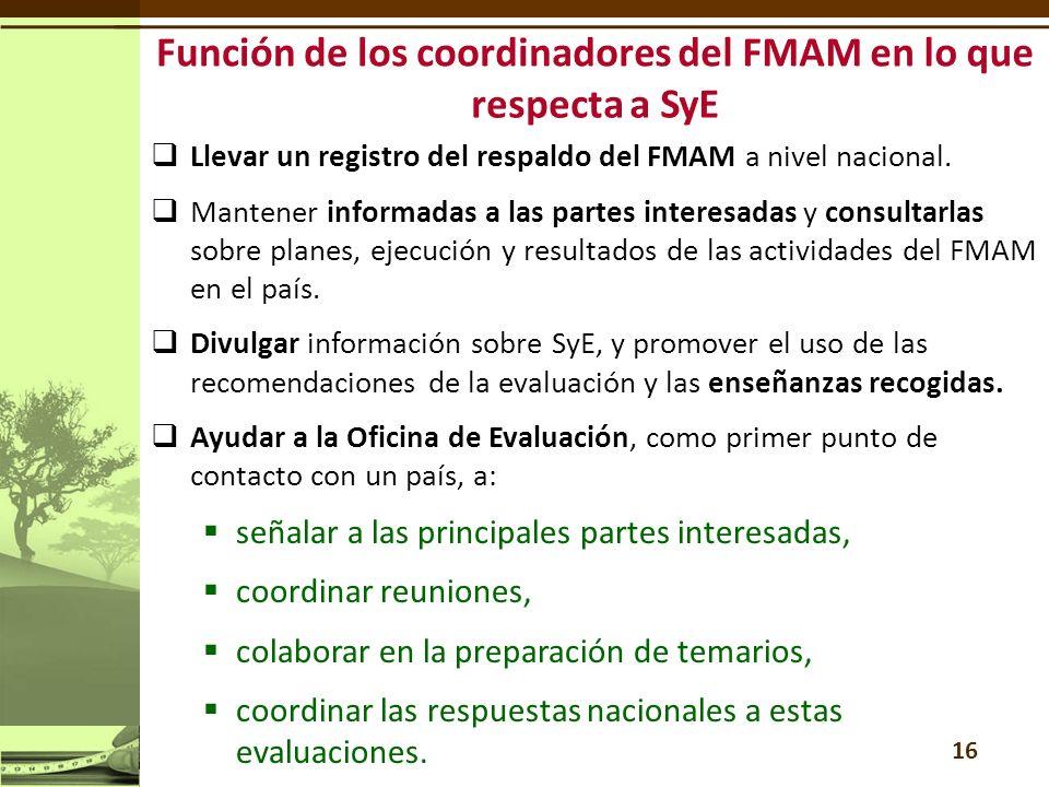 Llevar un registro del respaldo del FMAM a nivel nacional.