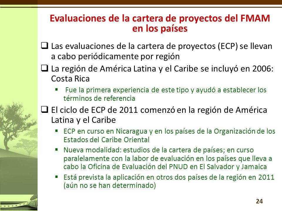 24 Las evaluaciones de la cartera de proyectos (ECP) se llevan a cabo periódicamente por región La región de América Latina y el Caribe se incluyó en 2006: Costa Rica Fue la primera experiencia de este tipo y ayudó a establecer los términos de referencia El ciclo de ECP de 2011 comenzó en la región de América Latina y el Caribe ECP en curso en Nicaragua y en los países de la Organización de los Estados del Caribe Oriental Nueva modalidad: estudios de la cartera de países; en curso paralelamente con la labor de evaluación en los países que lleva a cabo la Oficina de Evaluación del PNUD en El Salvador y Jamaica Está prevista la aplicación en otros dos países de la región en 2011 (aún no se han determinado)