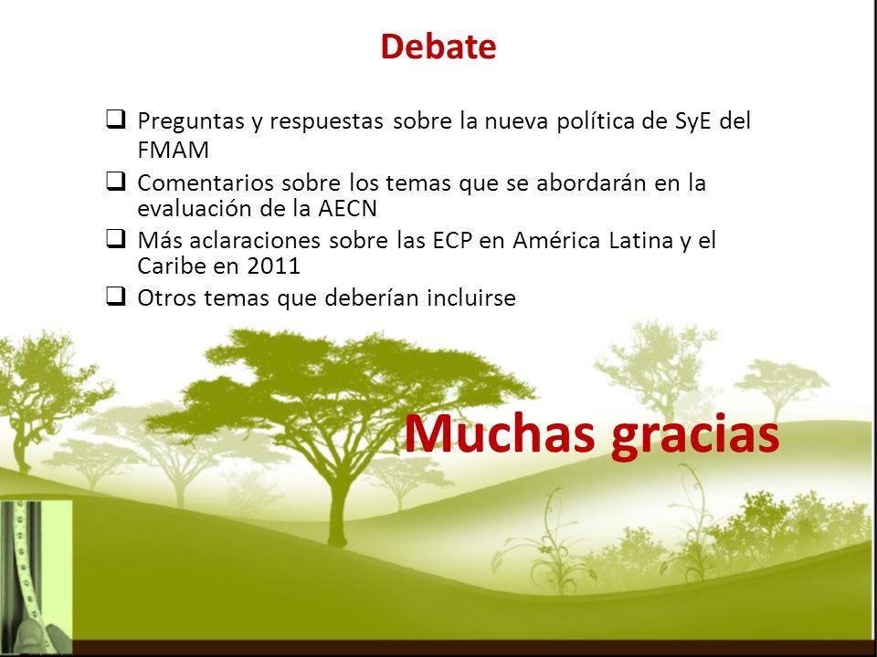 Muchas gracias Debate Preguntas y respuestas sobre la nueva política de SyE del FMAM Comentarios sobre los temas que se abordarán en la evaluación de la AECN Más aclaraciones sobre las ECP en América Latina y el Caribe en 2011 Otros temas que deberían incluirse