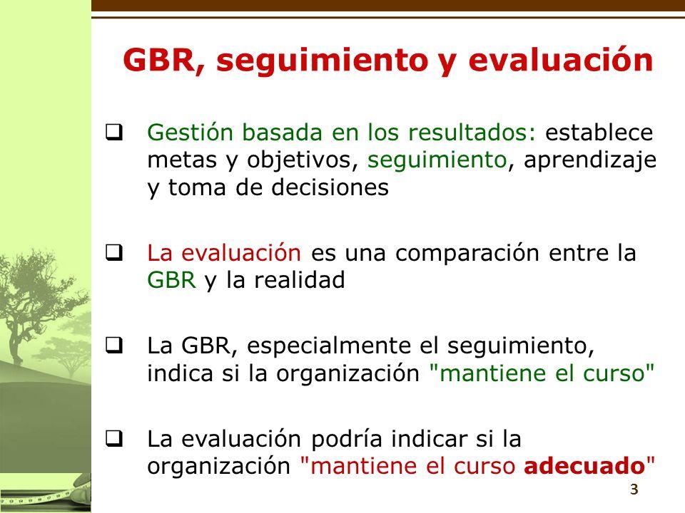 3 Gestión basada en los resultados: establece metas y objetivos, seguimiento, aprendizaje y toma de decisiones La evaluación es una comparación entre la GBR y la realidad La GBR, especialmente el seguimiento, indica si la organización mantiene el curso La evaluación podría indicar si la organización mantiene el curso adecuado