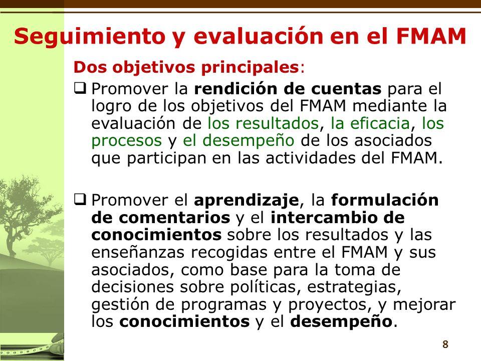 Dos objetivos principales: Promover la rendición de cuentas para el logro de los objetivos del FMAM mediante la evaluación de los resultados, la eficacia, los procesos y el desempeño de los asociados que participan en las actividades del FMAM.