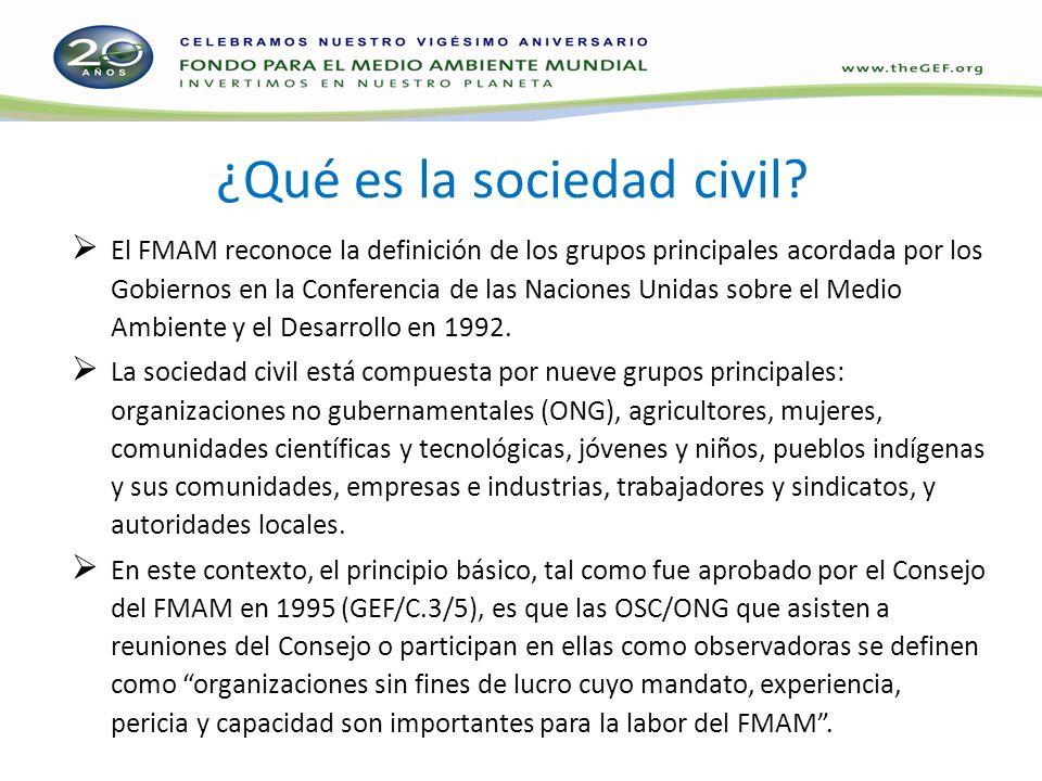 ¿Qué es la sociedad civil? El FMAM reconoce la definición de los grupos principales acordada por los Gobiernos en la Conferencia de las Naciones Unida