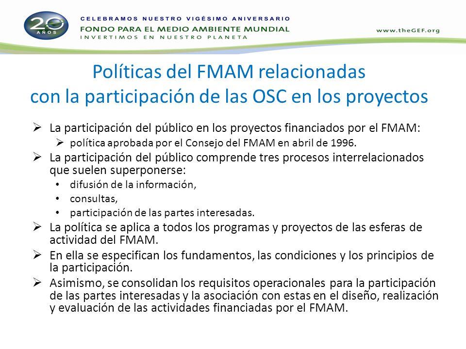 Políticas del FMAM relacionadas con la participación de las OSC en los proyectos La participación del público en los proyectos financiados por el FMAM: política aprobada por el Consejo del FMAM en abril de 1996.