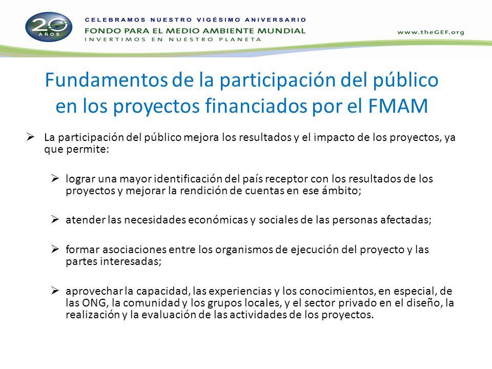 Fundamentos de la participación del público en los proyectos financiados por el FMAM La participación del público mejora los resultados y el impacto d