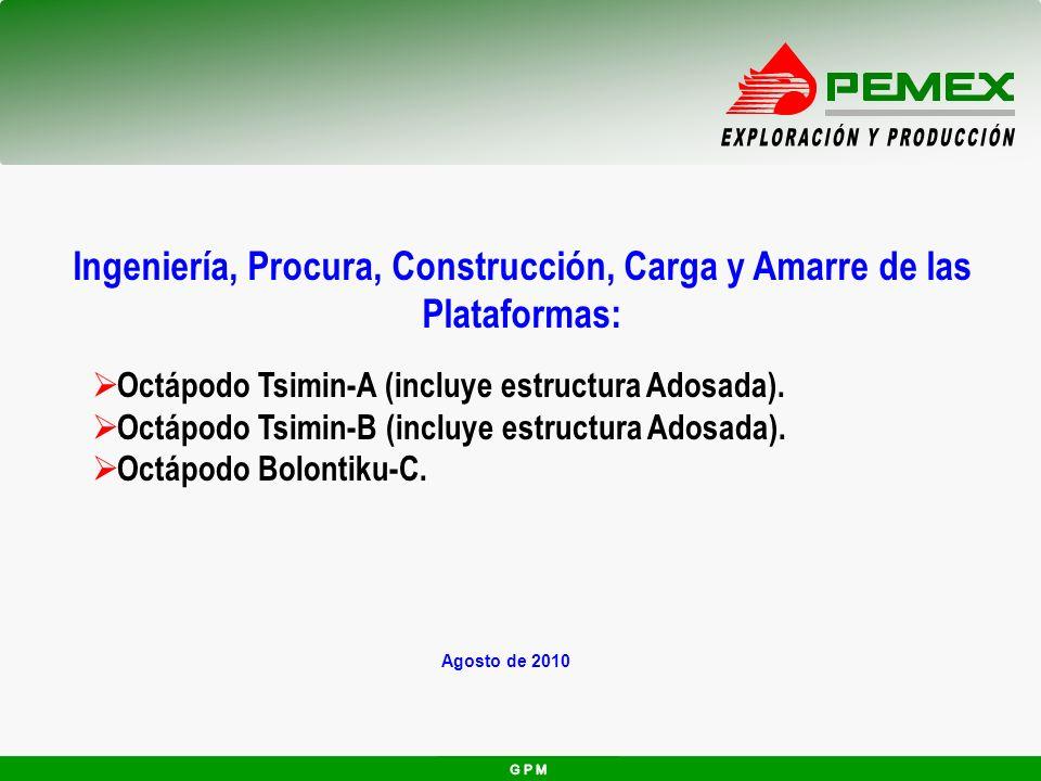 Agosto de 2010 Ingeniería, Procura, Construcción, Carga y Amarre de las Plataformas: Octápodo Tsimin-A (incluye estructura Adosada). Octápodo Tsimin-B