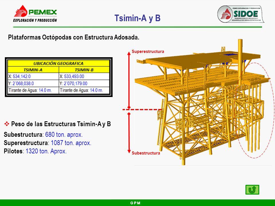 Tsimin-A y B Peso de las Estructuras Tsimin-A y B Subestructura : 680 ton. aprox. Superestructura : 1087 ton. aprox. Pilotes : 1320 ton. Aprox. Plataf