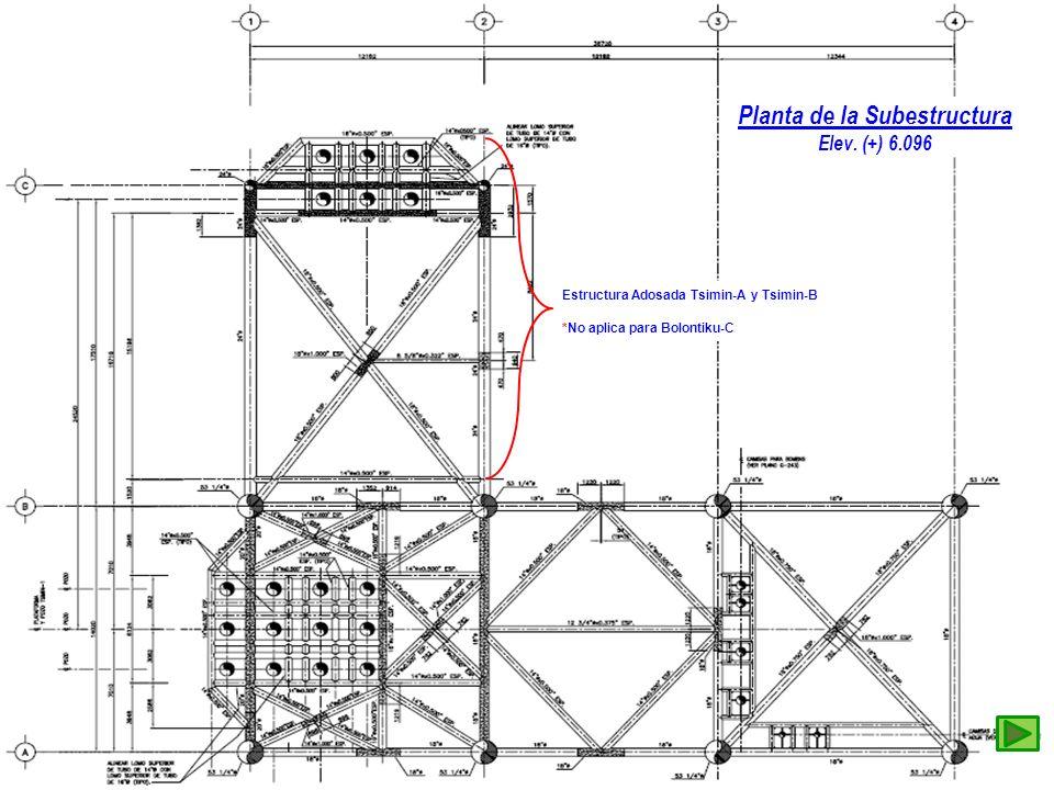 Planta de la Subestructura Elev. (+) 6.096 Estructura Adosada Tsimin-A y Tsimin-B *No aplica para Bolontiku-C