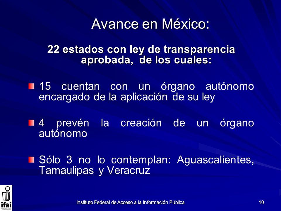 Instituto Federal de Acceso a la Información Pública 10 Avance en México: 22 estados con ley de transparencia aprobada, de los cuales: 15 cuentan con