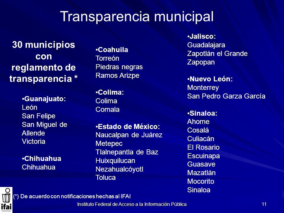 Instituto Federal de Acceso a la Información Pública 11 Transparencia municipal Coahuila Torreón Piedras negras Ramos Arizpe Colima: Colima Comala Est