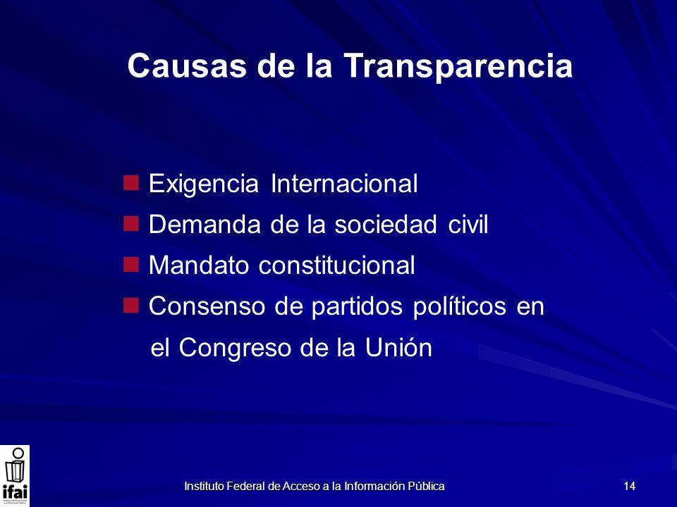 Instituto Federal de Acceso a la Información Pública 14 Causas de la Transparencia Exigencia Internacional Demanda de la sociedad civil Mandato consti
