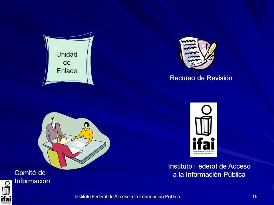 Instituto Federal de Acceso a la Información Pública 16 Comité de Información Recurso de Revisión Unidad de Enlace Instituto Federal de Acceso a la In