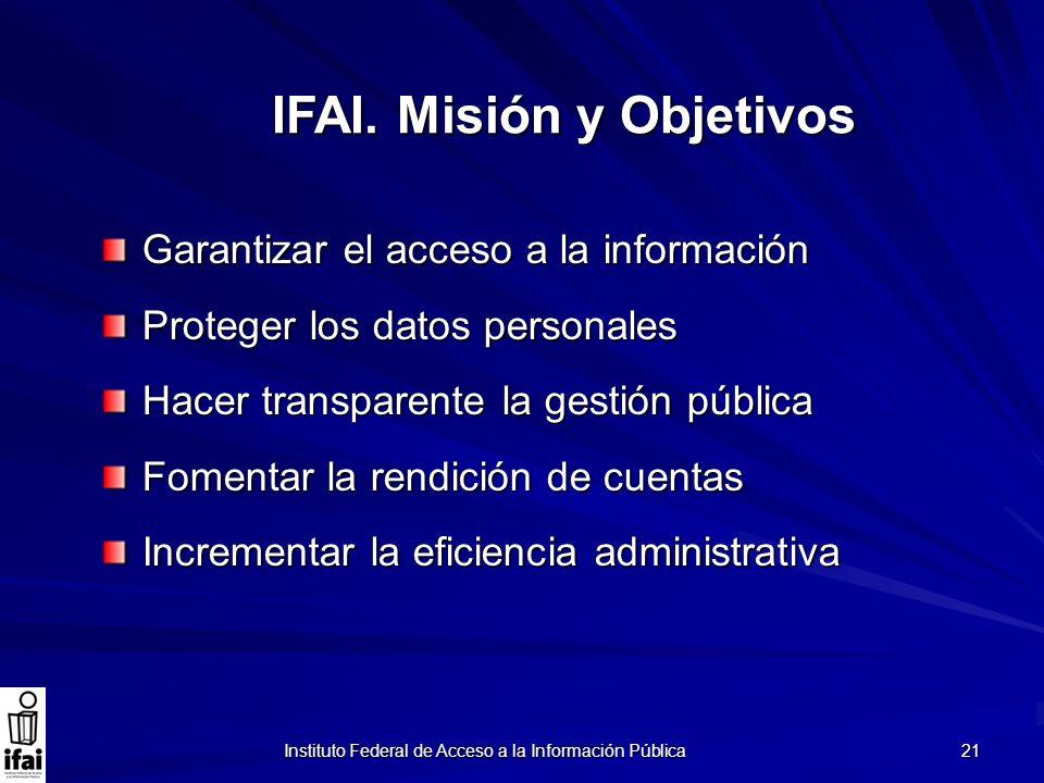 Instituto Federal de Acceso a la Información Pública 21 Garantizar el acceso a la información Proteger los datos personales Hacer transparente la gest