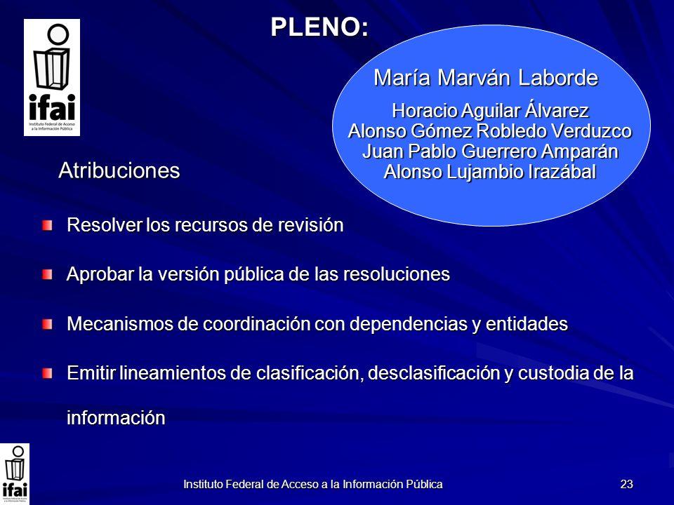 Instituto Federal de Acceso a la Información Pública 23 Horacio Aguilar Álvarez Alonso Gómez Robledo Verduzco Juan Pablo Guerrero Amparán Alonso Lujam