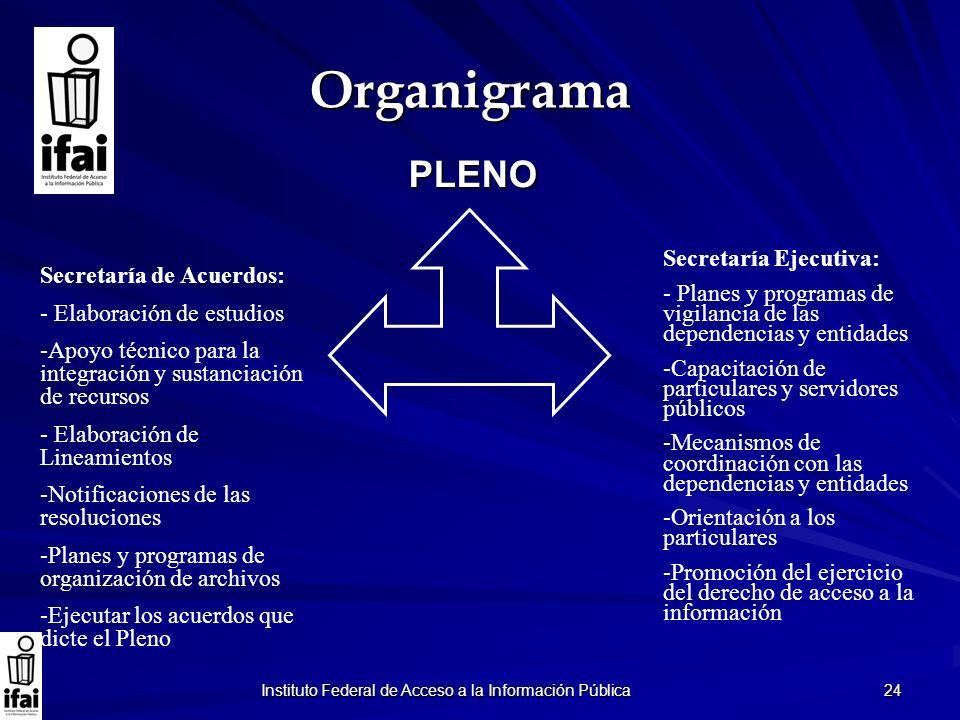 Instituto Federal de Acceso a la Información Pública 24 Organigrama PLENO Secretaría de Acuerdos: - Elaboración de estudios -Apoyo técnico para la int