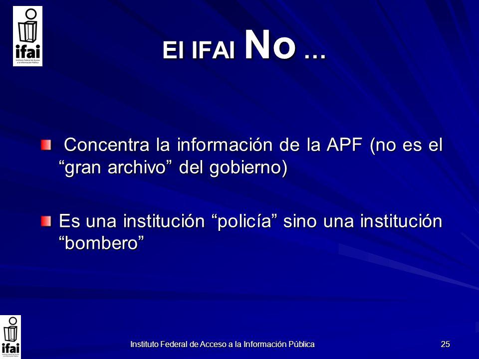 Instituto Federal de Acceso a la Información Pública 25 El IFAI No … Concentra la información de la APF (no es el gran archivo del gobierno) Concentra