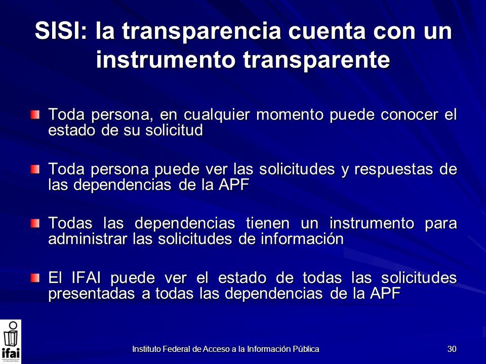 Instituto Federal de Acceso a la Información Pública 30 SISI: la transparencia cuenta con un instrumento transparente Toda persona, en cualquier momen