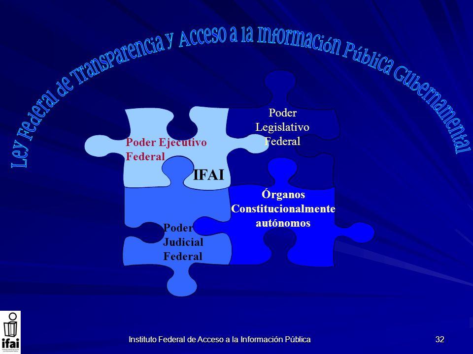 Instituto Federal de Acceso a la Información Pública 32 Poder Legislativo Federal Poder Judicial Federal Poder Ejecutivo Federal Órganos Constituciona