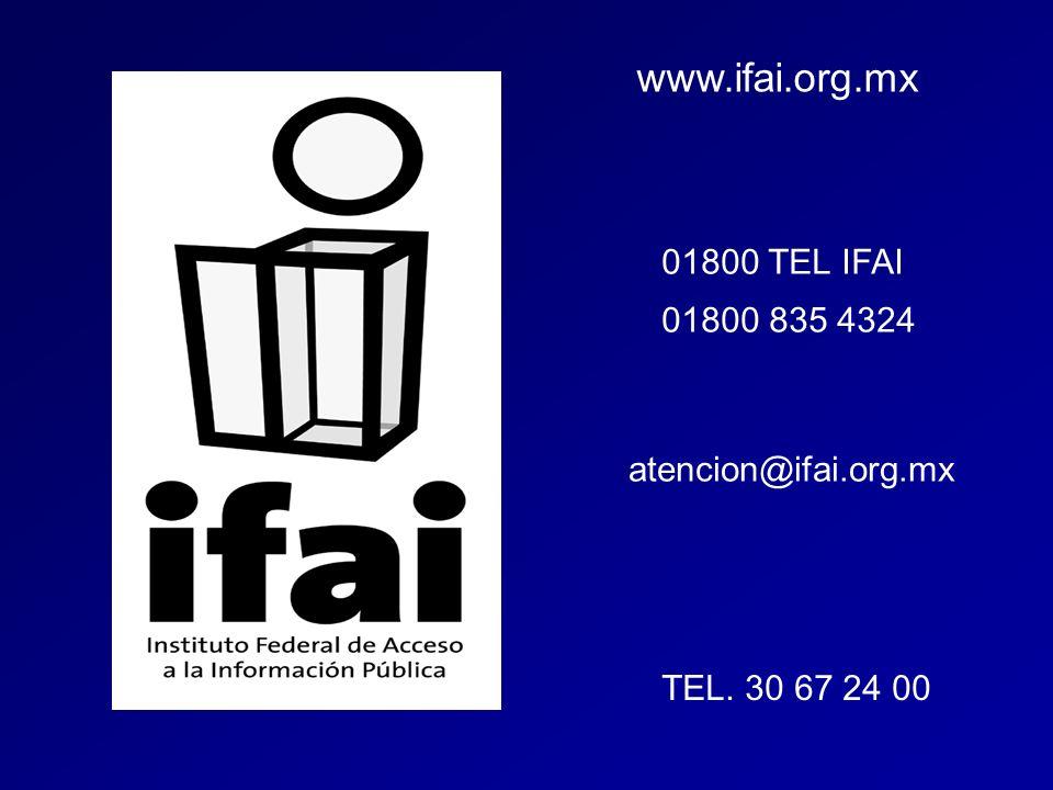 www.ifai.org.mx 01800 TEL IFAI 01800 835 4324 atencion@ifai.org.mx TEL. 30 67 24 00