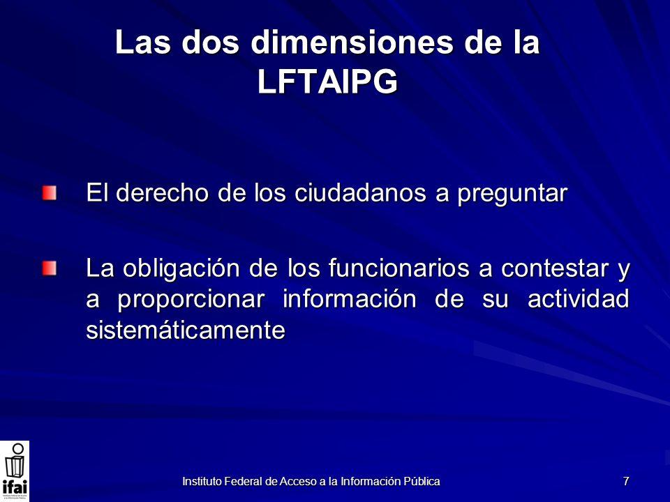 Instituto Federal de Acceso a la Información Pública 7 Las dos dimensiones de la LFTAIPG El derecho de los ciudadanos a preguntar La obligación de los