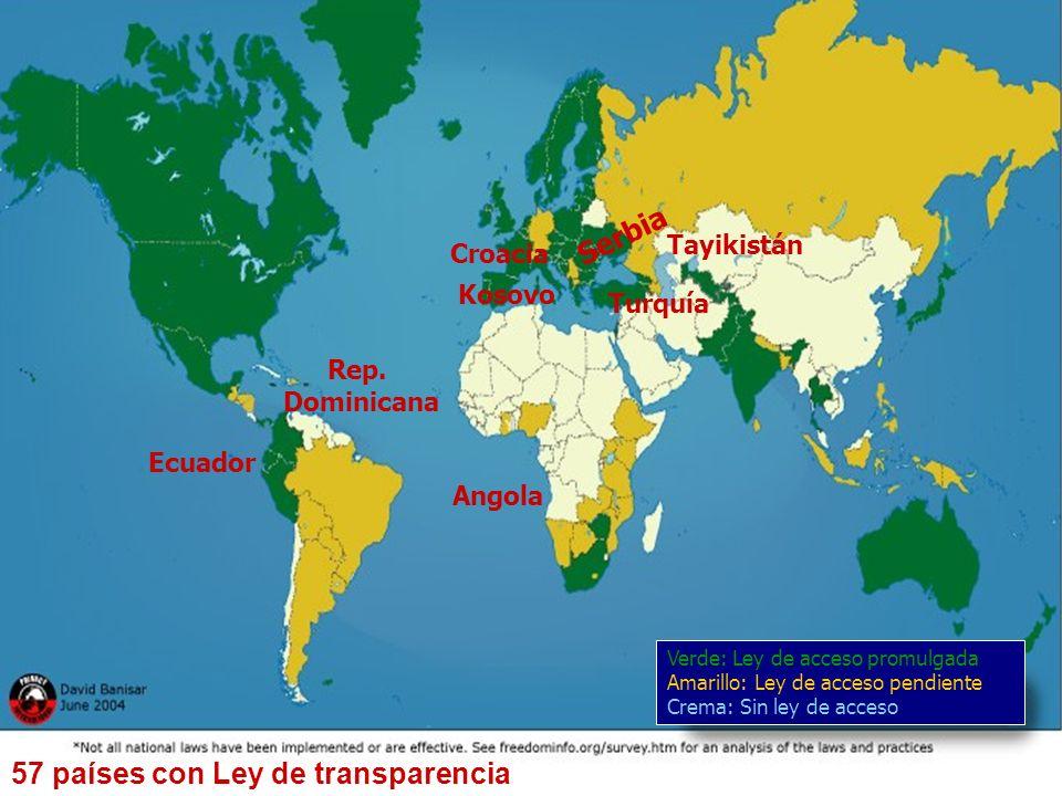Instituto Federal de Acceso a la Información Pública 8 57 países con Ley de transparencia Ecuador Croacia Kosovo Turquía Tayikistán Verde: Ley de acce