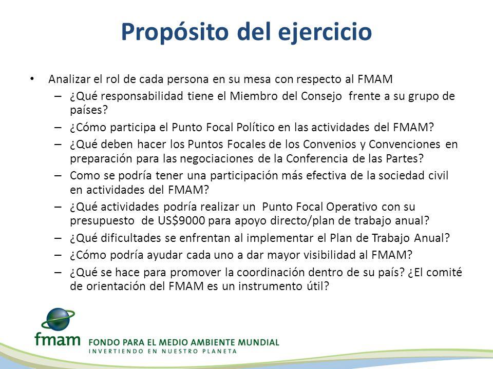 Propósito del ejercicio Analizar el rol de cada persona en su mesa con respecto al FMAM – ¿Qué responsabilidad tiene el Miembro del Consejo frente a su grupo de países.
