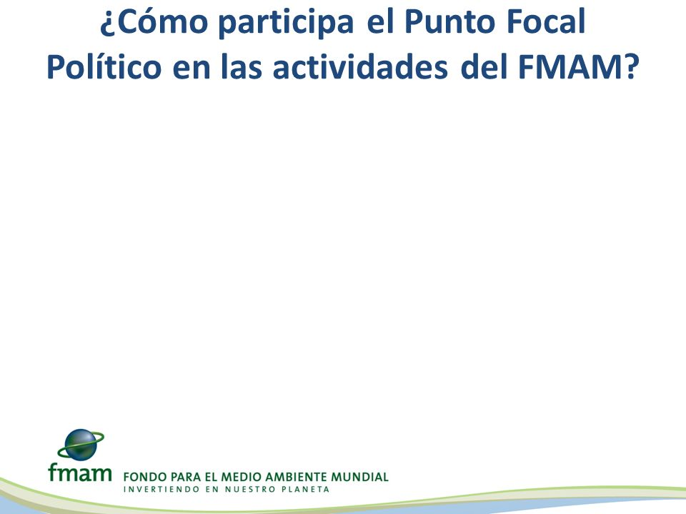 ¿Cómo participa el Punto Focal Político en las actividades del FMAM?