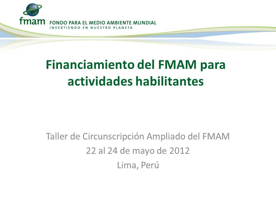 Taller de Circunscripción Ampliado del FMAM 22 al 24 de mayo de 2012 Lima, Perú Financiamiento del FMAM para actividades habilitantes