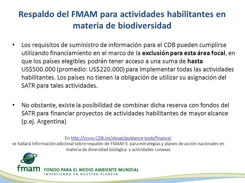 Respaldo del FMAM para actividades habilitantes en materia de biodiversidad Los requisitos de suministro de información para el CDB pueden cumplirse utilizando financiamiento en el marco de la exclusión para esta área focal, en que los países elegibles podrán tener acceso a una suma de hasta US$500.000 (promedio: US$220.000) para implementar todas las actividades habilitantes.
