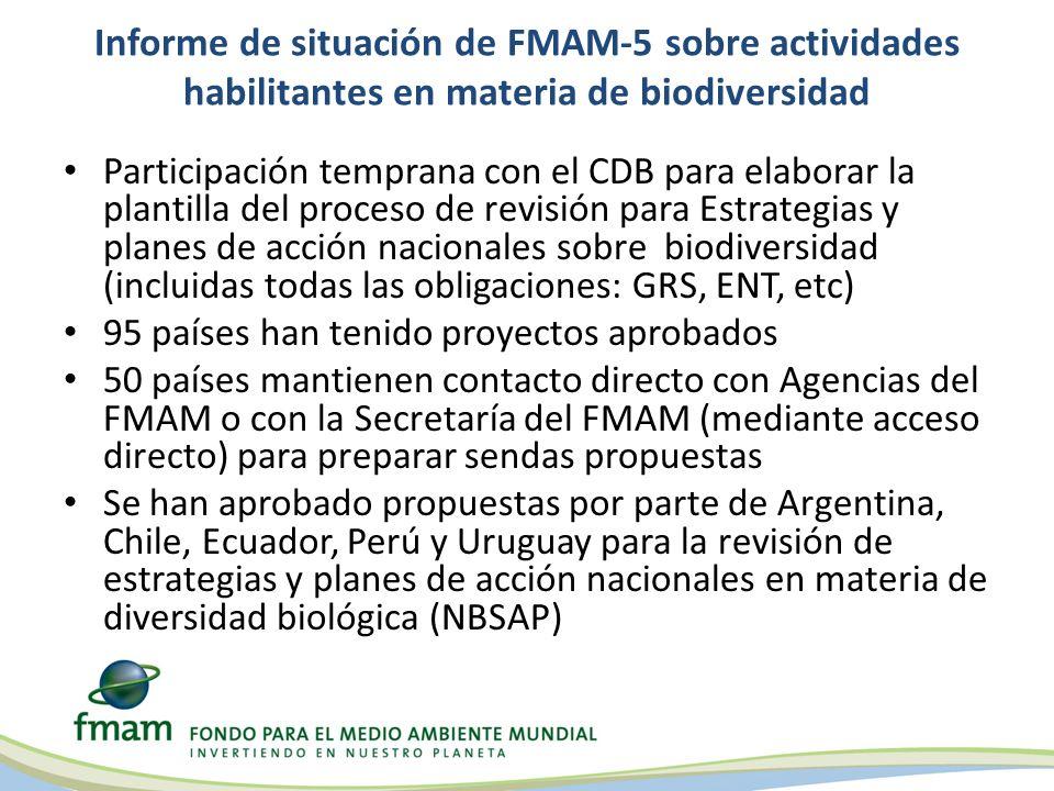 Informe de situación de FMAM-5 sobre actividades habilitantes en materia de biodiversidad Participación temprana con el CDB para elaborar la plantilla del proceso de revisión para Estrategias y planes de acción nacionales sobre biodiversidad (incluidas todas las obligaciones: GRS, ENT, etc) 95 países han tenido proyectos aprobados 50 países mantienen contacto directo con Agencias del FMAM o con la Secretaría del FMAM (mediante acceso directo) para preparar sendas propuestas Se han aprobado propuestas por parte de Argentina, Chile, Ecuador, Perú y Uruguay para la revisión de estrategias y planes de acción nacionales en materia de diversidad biológica (NBSAP)