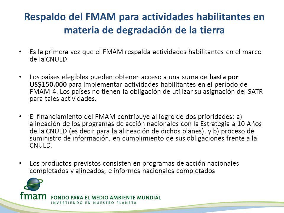 Informe de situación de FMAM-5 sobre actividades habilitantes en materia de degradación de la tierra Las tres modalidades están siendo utilizadas por Partes elegibles en el marco de la CNULD Hasta mayo de 2012: – 3 (tres) países estaban utilizando acceso directo por un monto de hasta el máximo estipulado (US$150.000); 1 (uno) ya había sido aprobado por la CEO del FMAM – 3 (tres) países habían usado una Agencia del FMAM (la FAO) – 52 países han endosado el proyecto sombrilla de UNEP que está incluido en el Programa de Trabajo de julio; cada uno de los 52 países recibiría US$50.0000