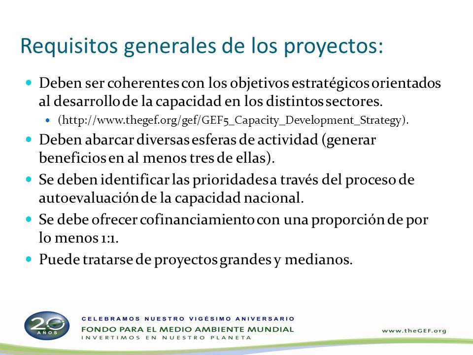 Requisitos generales de los proyectos: Deben ser coherentes con los objetivos estratégicos orientados al desarrollo de la capacidad en los distintos sectores.