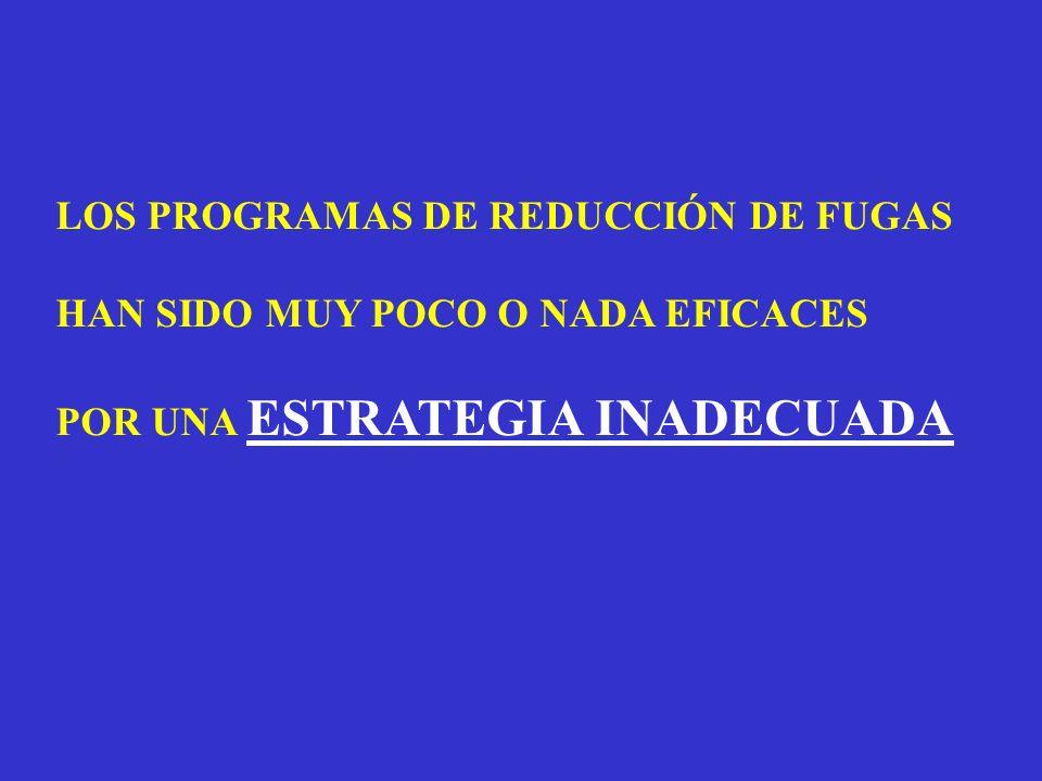 LOS PROGRAMAS DE REDUCCIÓN DE FUGAS HAN SIDO MUY POCO O NADA EFICACES POR UNA ESTRATEGIA INADECUADA