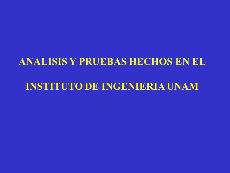 ANALISIS Y PRUEBAS HECHOS EN EL INSTITUTO DE INGENIERIA UNAM