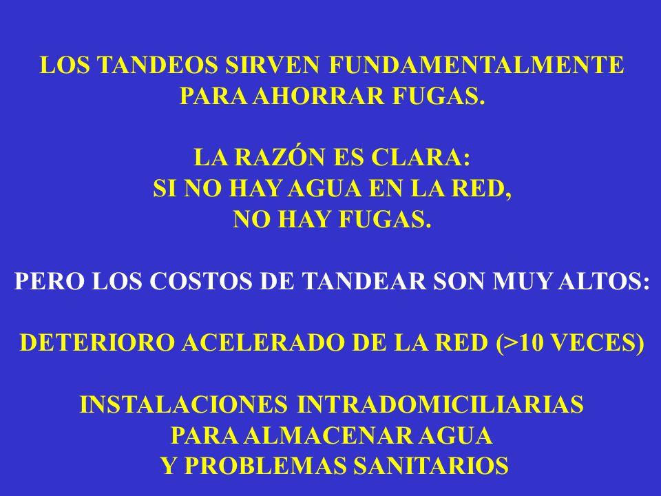 LOS TANDEOS SIRVEN FUNDAMENTALMENTE PARA AHORRAR FUGAS.