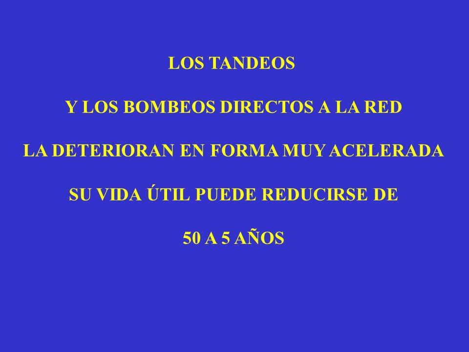 LOS TANDEOS Y LOS BOMBEOS DIRECTOS A LA RED LA DETERIORAN EN FORMA MUY ACELERADA SU VIDA ÚTIL PUEDE REDUCIRSE DE 50 A 5 AÑOS
