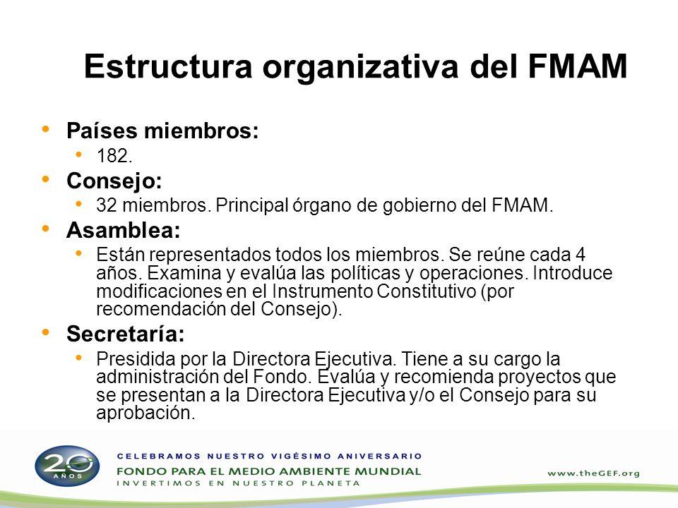 Estructura organizativa del FMAM Países miembros: 182. Consejo: 32 miembros. Principal órgano de gobierno del FMAM. Asamblea: Están representados todo