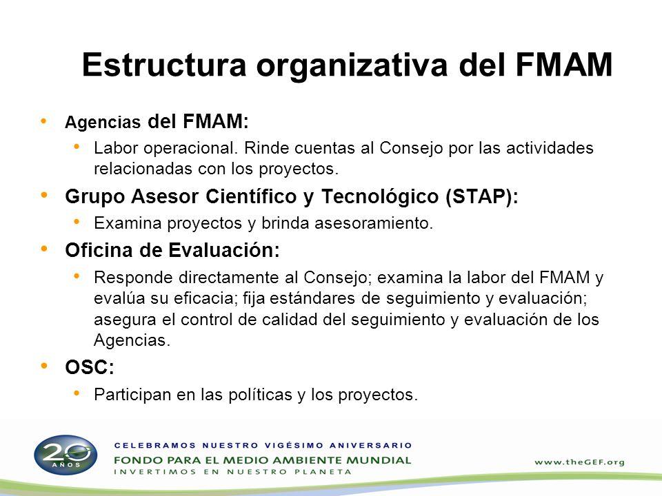 Estructura organizativa del FMAM Agencias del FMAM: Labor operacional. Rinde cuentas al Consejo por las actividades relacionadas con los proyectos. Gr