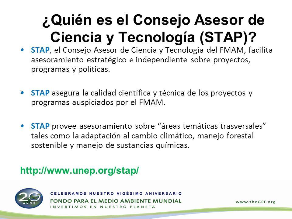 ¿Quién es el Consejo Asesor de Ciencia y Tecnología (STAP)? STAP, el Consejo Asesor de Ciencia y Tecnología del FMAM, facilita asesoramiento estratégi