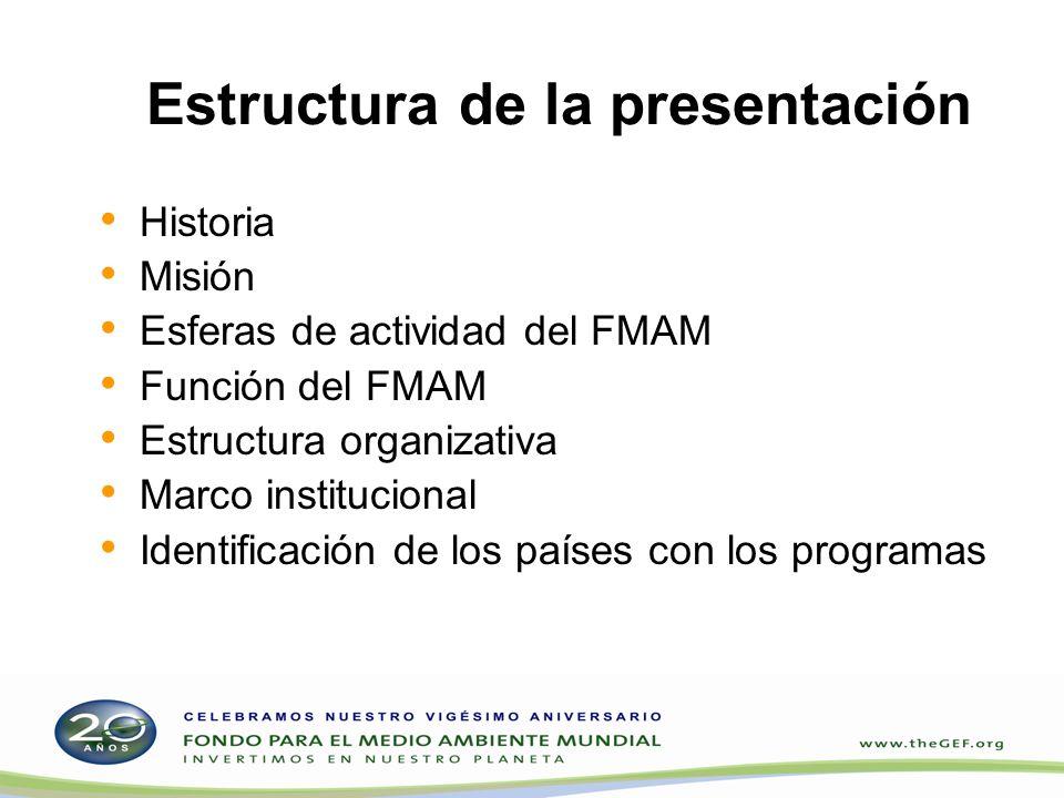 Historia Creado en 1991 Conferencia de las Naciones Unidas sobre el Medio Ambiente y el Desarrollo, 1992 Instrumento Constitutivo del Fondo para el Medio Ambiente Mundial Reestructurado (Cumbre para la Tierra), marzo de 1994 Reposición de los recursos del Fondo Fiduciario del FMAM: FMAM-1 (1994): US$2000 millones FMAM-2 (1998): US$2750 millones FMAM-3 (2002): US$3000 millones FMAM-4 (2006): US$3130 millones FMAM-5 (2010): US$4340 millones El Banco Mundial es el depositario del Fondo Fiduciario del FMAM