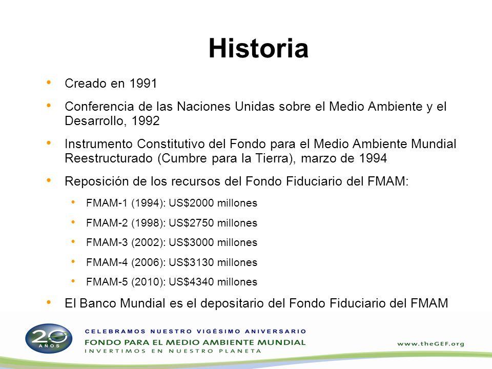 Historia Creado en 1991 Conferencia de las Naciones Unidas sobre el Medio Ambiente y el Desarrollo, 1992 Instrumento Constitutivo del Fondo para el Me